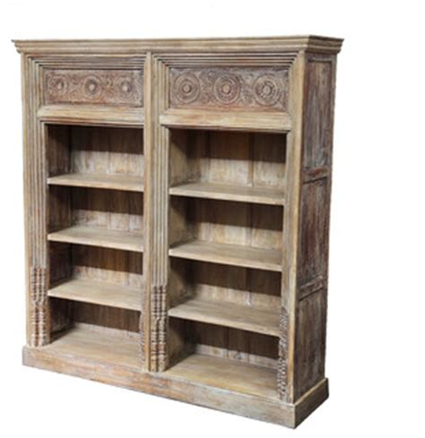large carved teak bookcase traditional bookcases