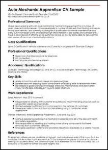 Mechanic Apprentice Sle Resume by Auto Mechanic Apprentice Cv Sle Myperfectcv