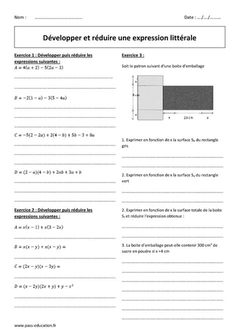 Réduire et développer une expression littérale - 4ème