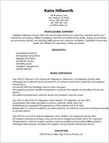 Clerk Resume Sles by Professional Walgreens Service Clerk Resume Templates To Showcase Your Talent Myperfectresume