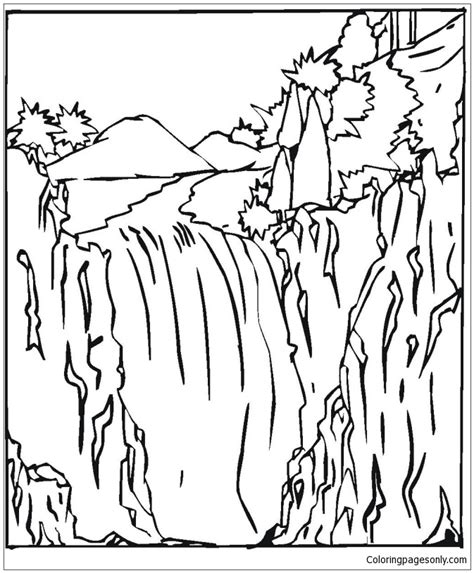 coloring page of niagara falls waterfall 2 coloring page free coloring pages online