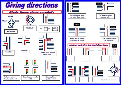 giving directions printable sheets giving directions worksheet free esl printable