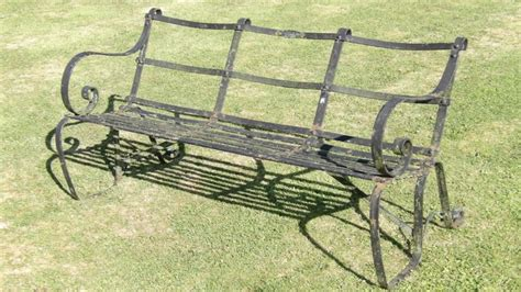 antique wrought iron bench vintage wrought iron bench holloways garden antiques and ornaments