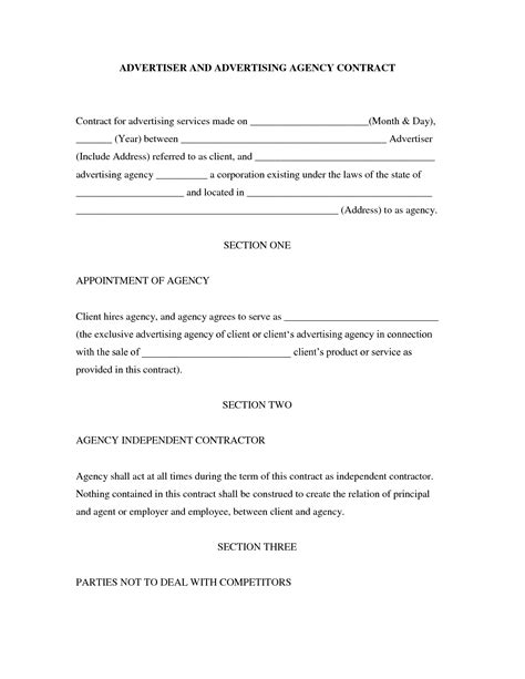 advertising agency contract template ad agency contract free printable documents