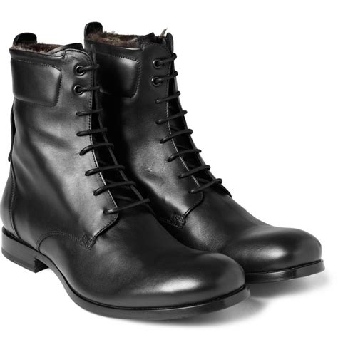 yves laurent rabbit lined leather boots mr porter