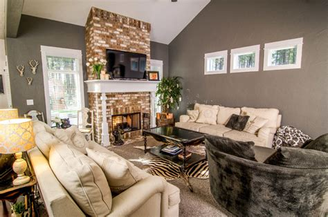 brick fireplace living room living room brick fireplace with wood wrapped mantle craftsman living room other by