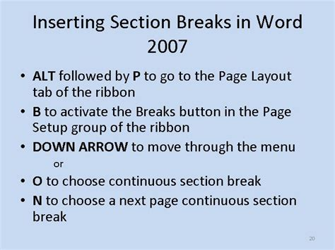 word 2007 insert section break slides and notes for