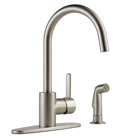 peerless kitchen faucet reviews peerless apex single handle standard kitchen faucet with side sprayer in stainless p199152lf ss