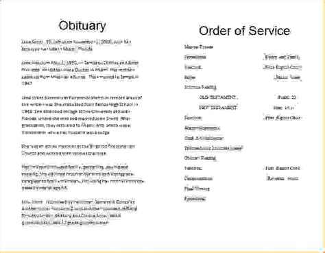 14 obituary programsagenda template sle agenda