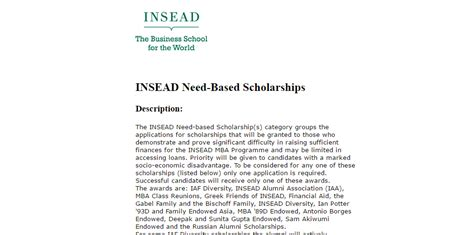 Need Based Scholarship For Mba by Insead Need Based Scholarships 2017 Armacad