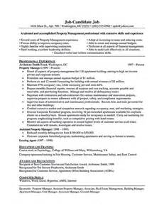 Free Sle Property Manager Resume Sle Property Manager Resume Gallery Creawizard