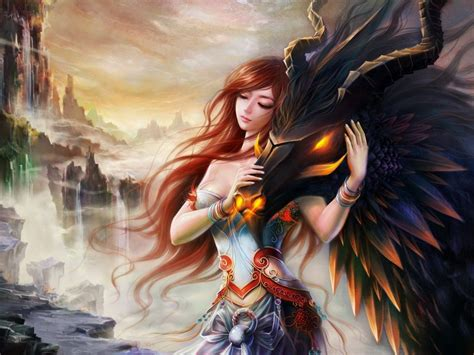 anime dragon girl wallpaper girl and dragon wallpapers and images wallpapers