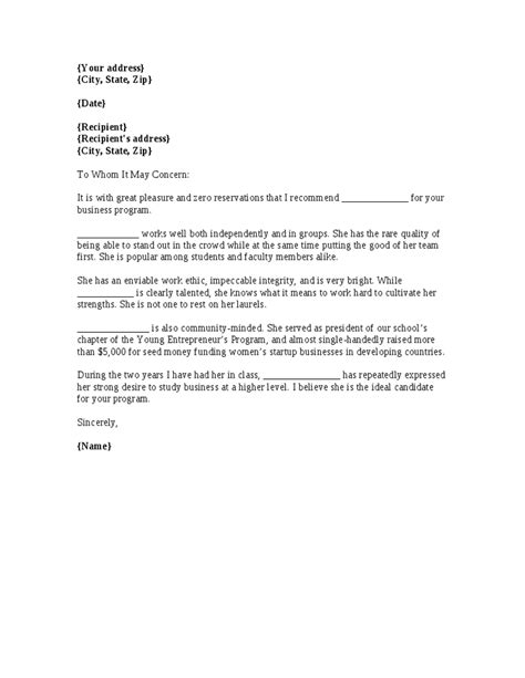 business letter of recommendation letter of recommendation for mba from college college