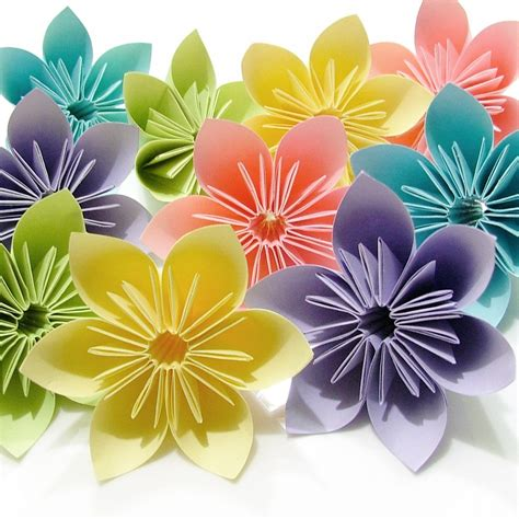 Paper Flowers Folding - pastel origami folding flowers 10 pcs by justpatchshop on etsy