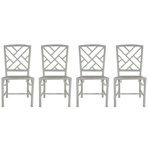 chinoiserie chic bamboo wing back chairs set of four metal indoor or patio faux bamboo chinoiserie