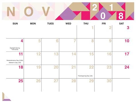 Calendar 2018 November Geometric Free Printable 2018 Calendar Calendar 2018