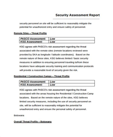 risk assessment investment company report template sle risk assessment report 6 documents in word pdf