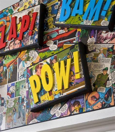 kinderzimmer junge superhelden comic book craft diy canvas holidays