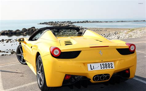 ferrari yellow wallpaper yellow ferrari 458 spider back view wallpaper car
