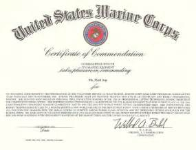 Usmc Certificate Of Commendation Template by Mari Asp Award From The United States Marine Corps