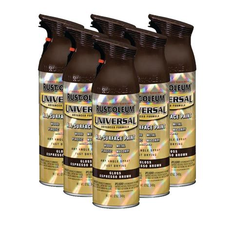 rust oleum universal 12 oz gloss espresso brown spray paint 6 pack discontinued 182428 the