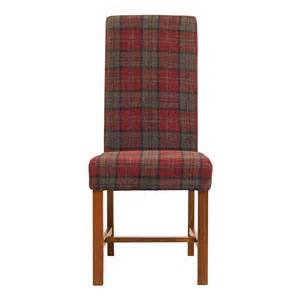 Upholstered Dining Room Chair Deluxe Claret Tartan Fabric Dining Chair Cromwell