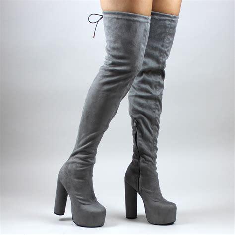 Block Heel Platform Boots black suede thigh high boots block heel platform