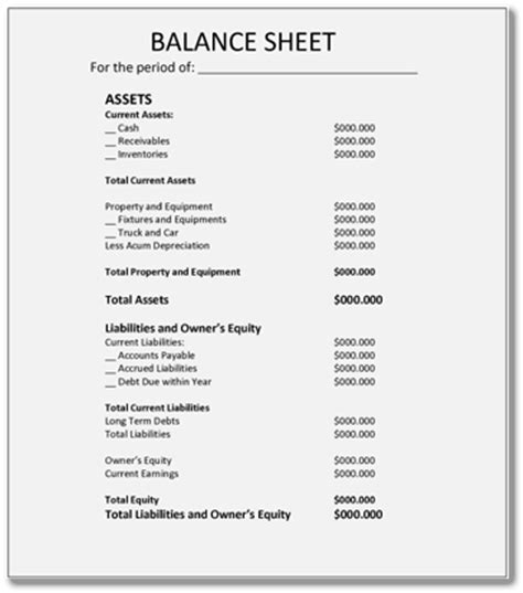 simple balance sheet template balance sheet exles 6 forms and formats in