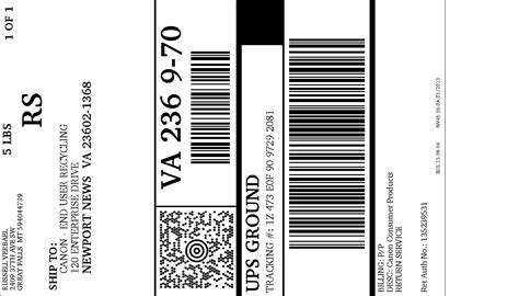 ups label template ups electronic return label view print label