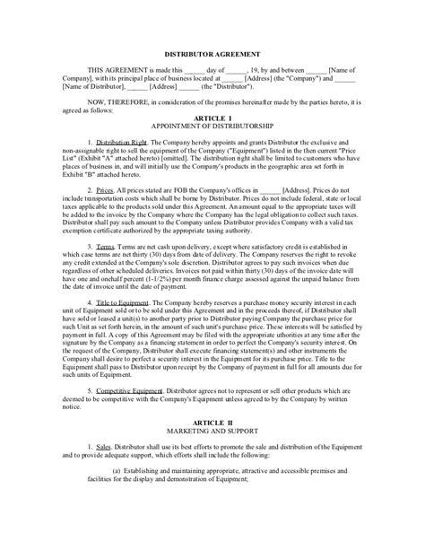 Letter Of Credit Distribution Agreement Distributor Agreement