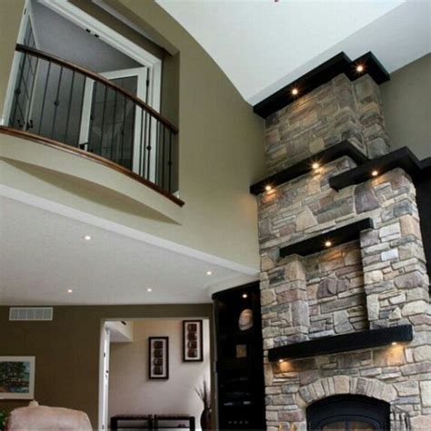 Houzz Media Room - tall fireplace for the home pinterest