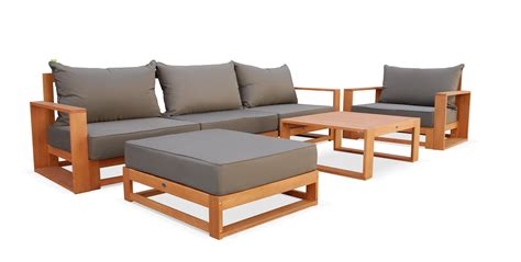 salon de jardin confortable salon de jardin selva en bois coussin gris anthracite 5 places assises 6 233 l 233 ments