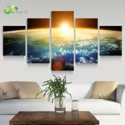 Artistic Wall Murals 5 Panel Modern Sunrise Space Universe Picture Painting