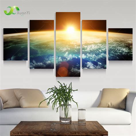 wall decor and home accents 5 panel modern sunrise space universe picture painting cuadros wall decor canvas art home decor