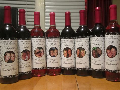 bridal party gifts custom wine labels for each member of