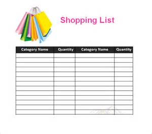 Shopping Lists Template by 7 Shopping List Templates Excel Pdf Formats