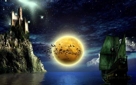 imagenes de paisajes en 3d paisaje nocturno 3d con p 225 jaros 1680x1050 fondos de