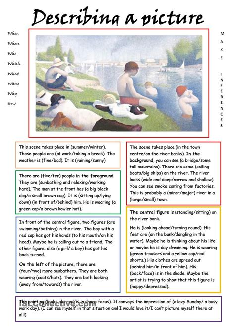describing a picture esl worksheets of the day
