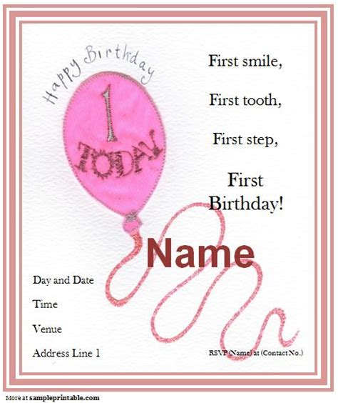 1st birthday invitation template free printable 40th birthday ideas free 1st birthday invitation