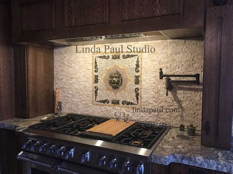 kitchen backsplash medallion mewtal and mosaic