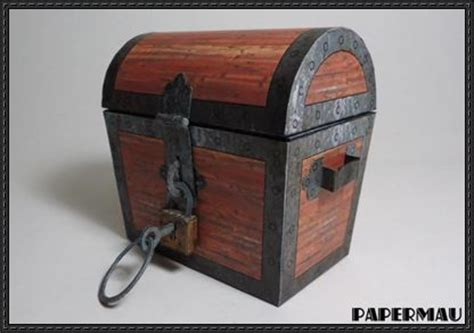 Treasure Chest Papercraft - treasure chest free paper model
