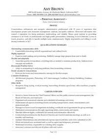 Personal Objectives Resume by Personal Assistant Resume Sle The Best Letter Sle