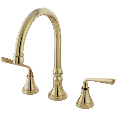 polished brass kitchen faucet kingston brass ks2792zlls silver sage widespread kitchen
