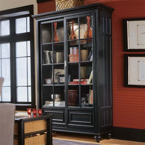 Wall Bookcase With Glass Door vintage black teak bookcase armoire with glass door in framed design in orange wooden wall paint