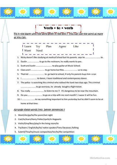 verb pattern permit verb to infinitive worksheet free esl printable