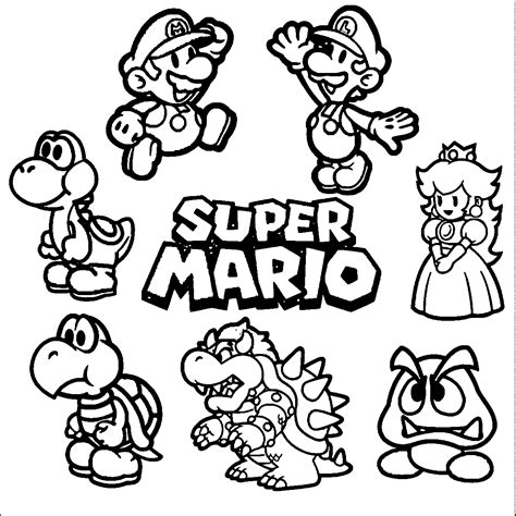 super mario coloring page 01 cross stitch mario luigi