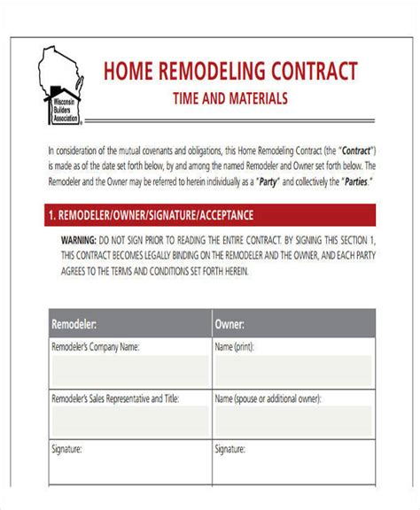 doc 585636 home remodeling contract home remodeling