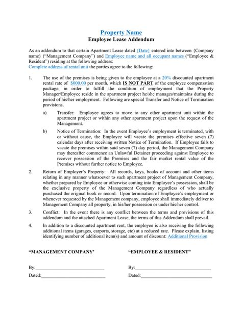 Addendums In Chronological Order Employee Lease Addendum Sle In Word And Pdf Formats