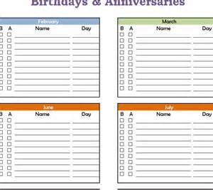 birthday and anniversary calendar template birthday and anniversary calendar templates calendar