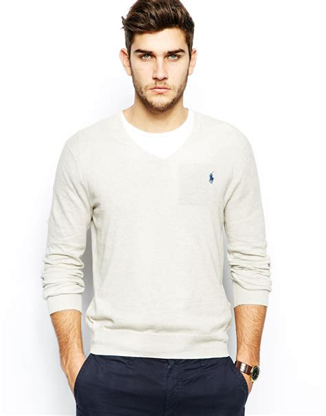 Hoodie Anak Polo 616 polo ralph gray jumper with v neck in slim fit for lyst